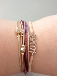 The same two LC bracelets and a Pura Vida bracelet stack for Valentine's Day